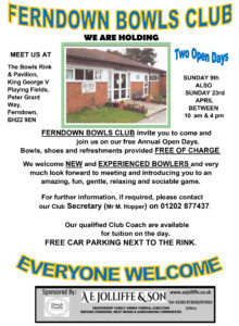 Ferndown Bowls Clubs sponsored by A E Jolliffe & Son
