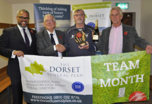 Dorset Funeral Plan cricket leaguie team of the month for July - Cattistock. Nick Douch (left) and Peter Douch (second left) from the sponsors with Richard Landgford and Buddy Langford.