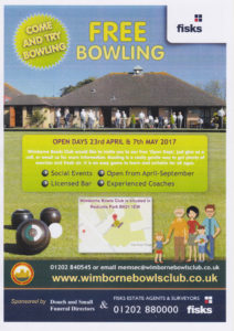 Wimborne bowls Club leaflets, Douch & Small