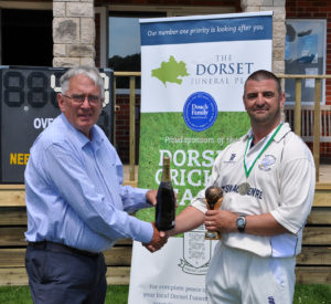 Swanage Cricket Club picking up the Dorset Funeral Plan Team of the month for May 2017