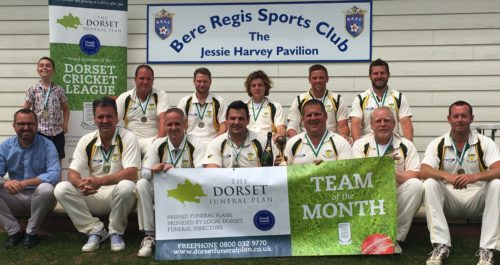 Shane Watson from the Dorset Funeral Plan (left) with Bere Regis CC