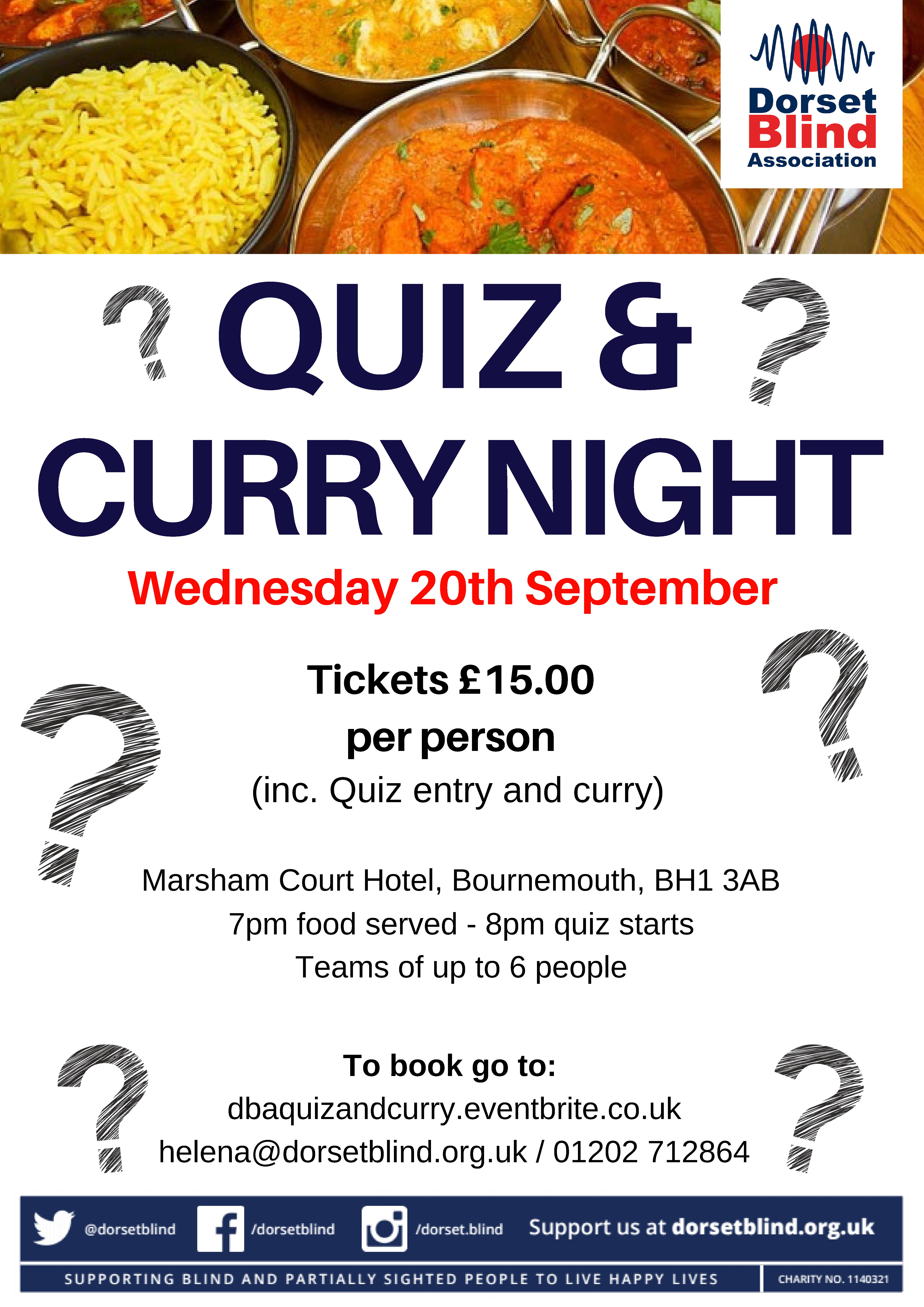Dorset Blind Quiz & Curry Night, Ives & Shand
