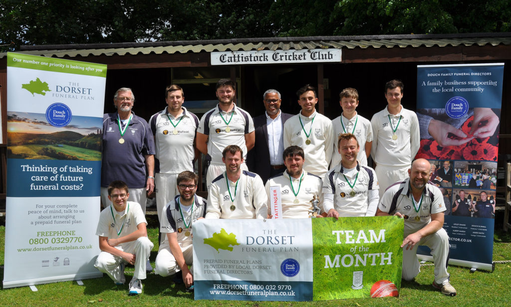 photo of Cattistock Cricket Club being presented with medals, trophy and bubbly for Team of The Month